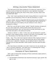 writing a successful thesis statement