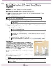 Gizmo - pH Analysis.pdf - Student Exploration pH Analysis ...
