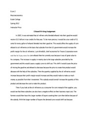 Ethanol Writing Assignment