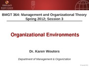BMGT 364 Session 3 - Organizational Environment