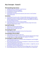 Review Concepts - Exam II - Merchandising Operations, Inventory, Internal Controls, Accounting for C