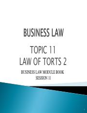 BUS115Jan2017_Topic 11 - Torts 2