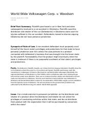 world wide volkswagen corp v woodson Boundaries19 in 1980, the court had an opportunity, in world-wide volkswagen  corp v woodson,20 to examine the application of purposeful availment.