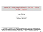 Chapter 7 Lecture on Sampling Distribution and Central Limit Theorem
