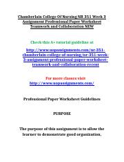 Chamberlain College Of Nursing NR 351 Week 3 Assignment Professional Paper Worksheet Teamwork and Co