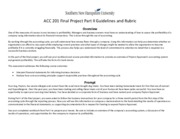 ACC 201 Final Project Part II Guidelines and Rubric
