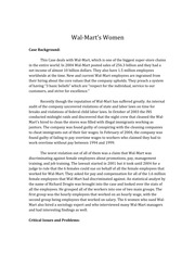 ethics and compliance paper wal mart For more than a year, the compliance community has wondered exactly how walmart would revamp its ethics & compliance operations to recover from the black eye the company received when news broke of extensive bribery activity in latin america and elsewhere well, now we're getting some answers.