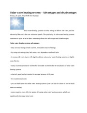 Solar water article notes