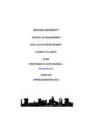 Real Estate Development Syllabus Spring 2015 - SI469