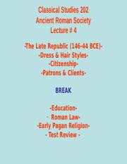 Classical Studies 202 Lecture 4.ppt