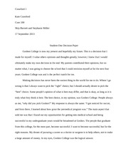 Essay Thesis Examples  Pages Studentone Decision Paper Example Of A Thesis Statement For An Essay also Essay Sample For High School Intergenerational Interview And Paper  Kate Crawford Skip Barnett  Example Of A Thesis Statement For An Essay