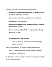 Purpose of Human Resource Management Notes