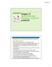 Nutrition and Physical Activity - posting