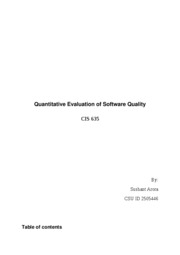 Term paper Quantitative Evaluation of Software Quality