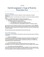 Unit 10 Assignment 1 Scope of Work for Penetration Test