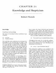 Unit 2 - Nozick (1981) Knowledge and Skepticism