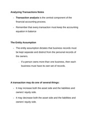 Analyzing Transactions Notes