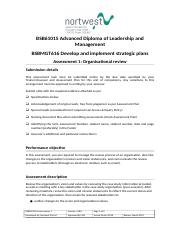 BSBMGT616 Assessment 1_Develop and implement strategic plans.doc