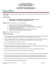 IT221 Class Plan, Week 2, Unit 2