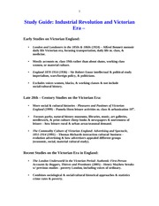 STUDY GUIDE HIST 104 INDUSTRIAL REVOLUTION AND VICTORIAN ERA
