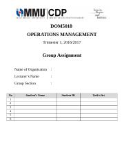 DOM5018 OPERATIONS MANAGEMENT- COVER PAGE.doc