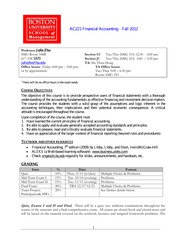 Financial Accounting AC221 Syllabus Fall 2012