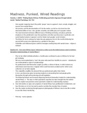 Madness, Punked, Wired Readings Notes