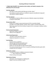Psychology 380 Exam 3 Study Guide