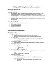 Class Notes for CSC290 - Business Communication Chapter 5
