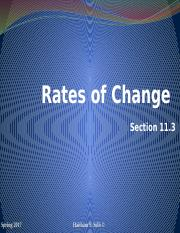 Rates of Changes Section 11.3 (1)