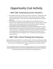 Opportunity Cost Activity
