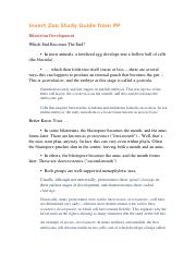 Invert Zoo Study Guide from PP