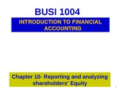 Chapter 10- Shareholders' Equity