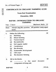 (www.entrance-exam.net)-IGNOU Certificate in Organic Farming - Introduction to Organic Farming Sampl