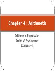 Chapter 4 Arithmetic Expression