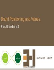 3. Brand Positioning and Values
