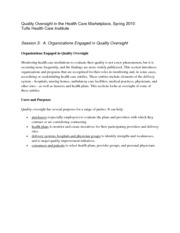 Quality Oversight in Health Care Marketing Notes  3
