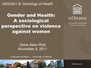 LECTURE 8A - Women's Health and Violence