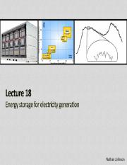 Lecture 18 - Energy Storage for Electricity(1)