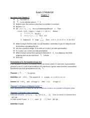 Abstract Algebra Exam 2 Material
