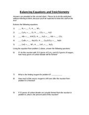 Balancing Equations Practice Worksheet - 1 2 NaNO 3 PbO b Pb(NO 3 ...