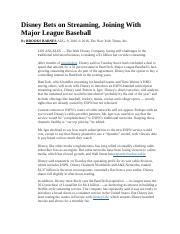 Disney Bets on Streaming Teams With Major League Baseball.docx