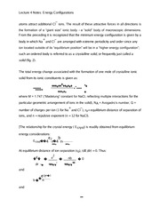 Lecture 4 Notes Energy Configurations