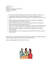 small group communication questions assignment