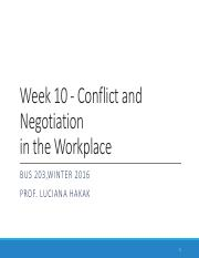Week 10 - Chapter 11 - Conflict and Negotiation