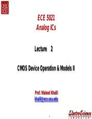 Lect2-CMOS Device Operation & Models II