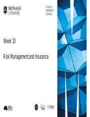 Week 10 Risk Management and Insurance