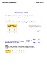 Unit 3 Rate of Change