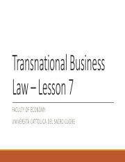 Transnational Business Law - Lesson 7