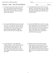 Printables Distance Rate Time Word Problems Worksheet 2 kuta software infinite algebra math 10 10